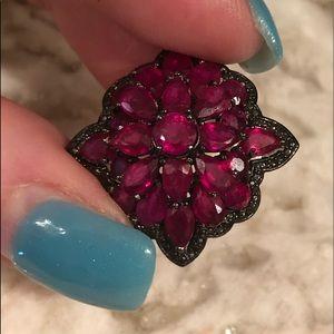 Jewelry - Vtg ruby sterling silver pin brooch